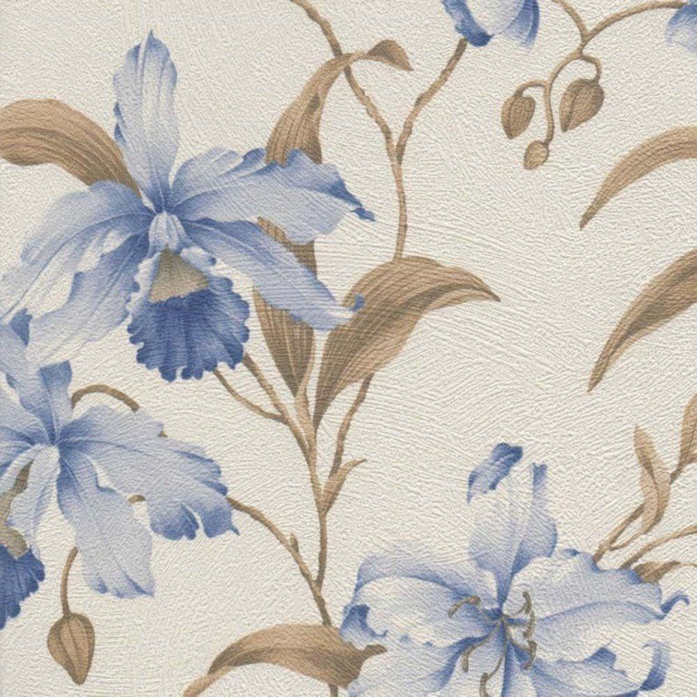 Papel de Parede Harmonia Bege Azul Flores L01 9114 Bobinex