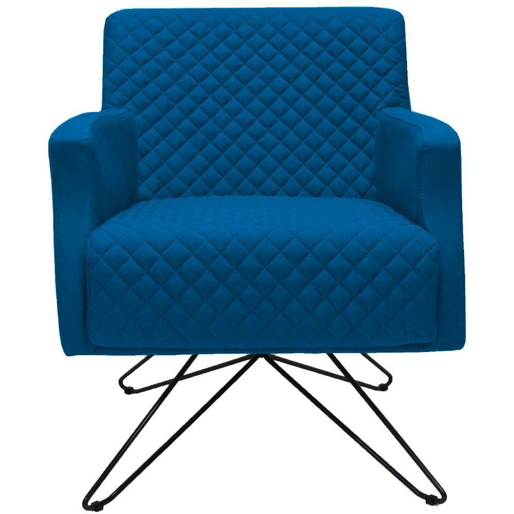 Poltrona Decorativa com Base Orby Diva D02 Veludo Azul Tressê Azul Cobalto B-170 - Lyam Decor