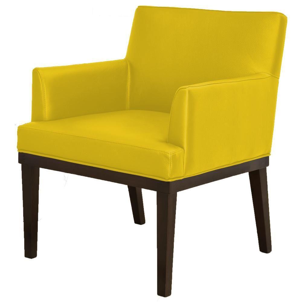 Poltrona Decorativa Para Sala de Estar e Recepção Beatriz W01 Corino Amarelo - Lyam Decor