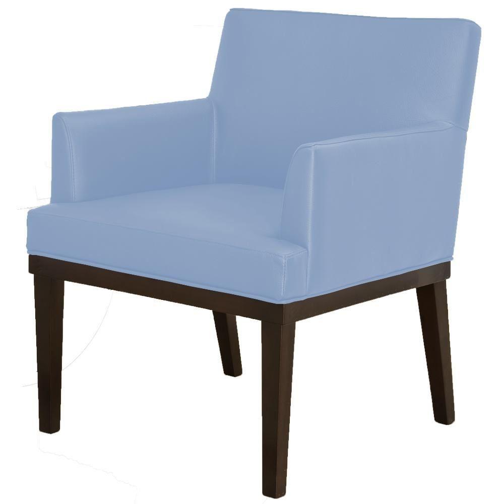 Poltrona Decorativa Para Sala de Estar e Recepção Beatriz W01 Corino Azul Claro - Lyam Decor