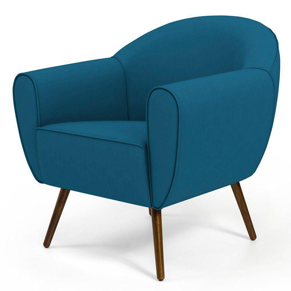 Poltrona Decorativa com Pés Palito Nina D02 Veludo Liso Azul Cobalto B-170 - Lyam Decor