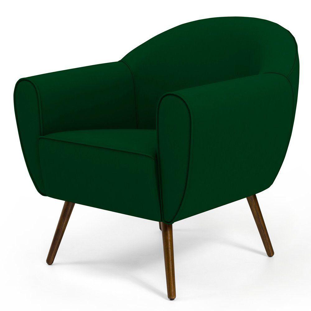 Poltrona Decorativa com Pés Palito Nina D02 Veludo Verde Liso B-303 - Lyam Decor