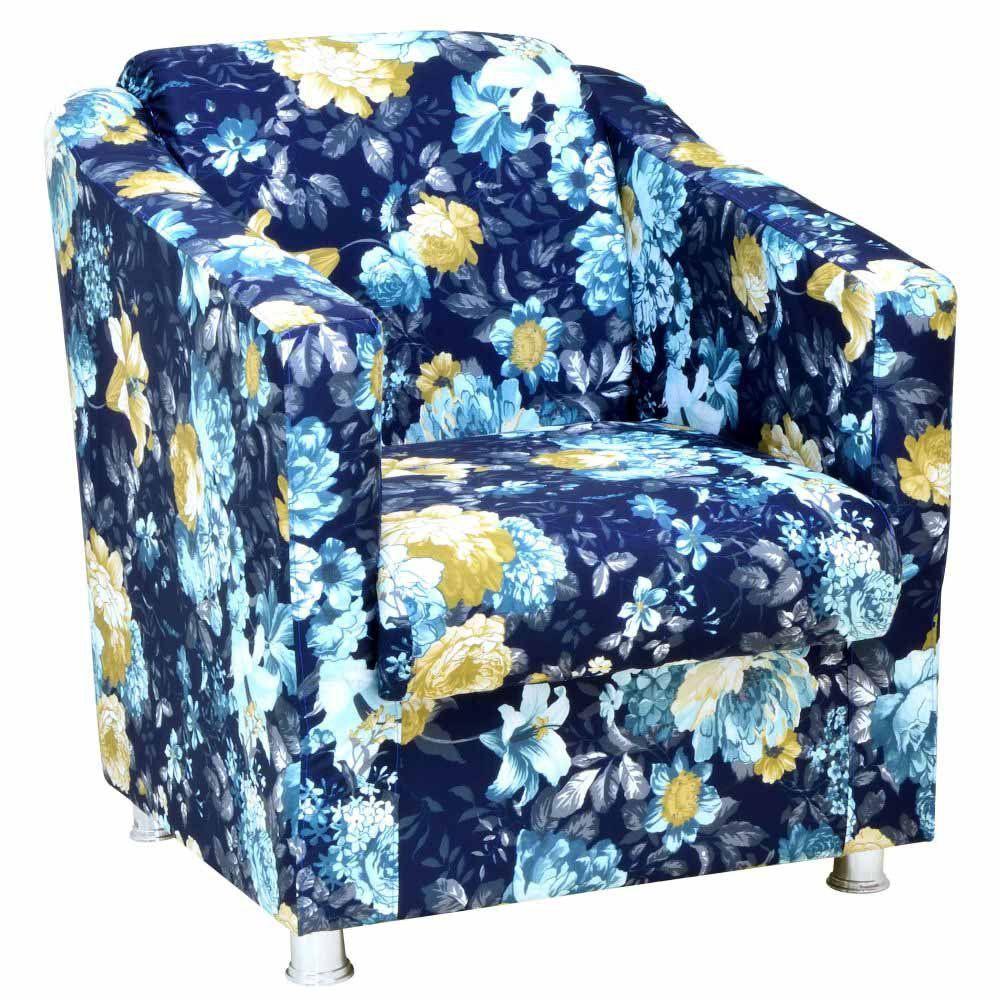 Poltrona Decorativa Laura L02 Azul Estampado - Lyam Decor