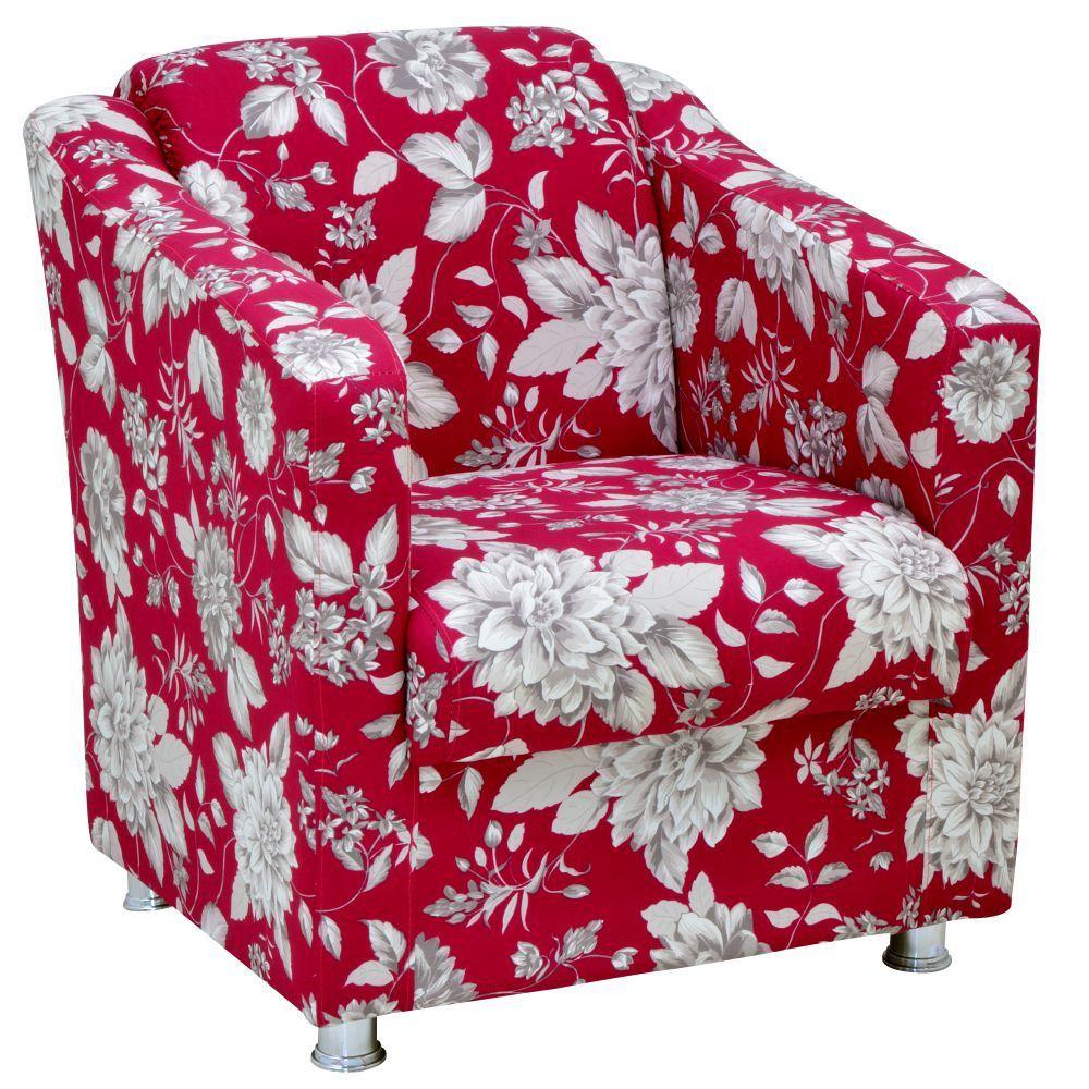 Poltrona Decorativa Laura L02 Cinza Vermelho - Lyam Decor