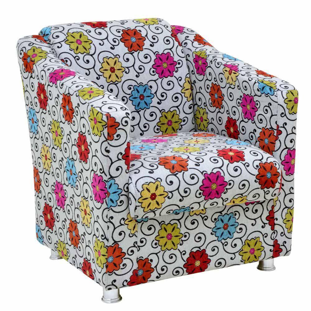 Poltrona Decorativa Laura L02 Tecido Linho Floral - Lyam Decor