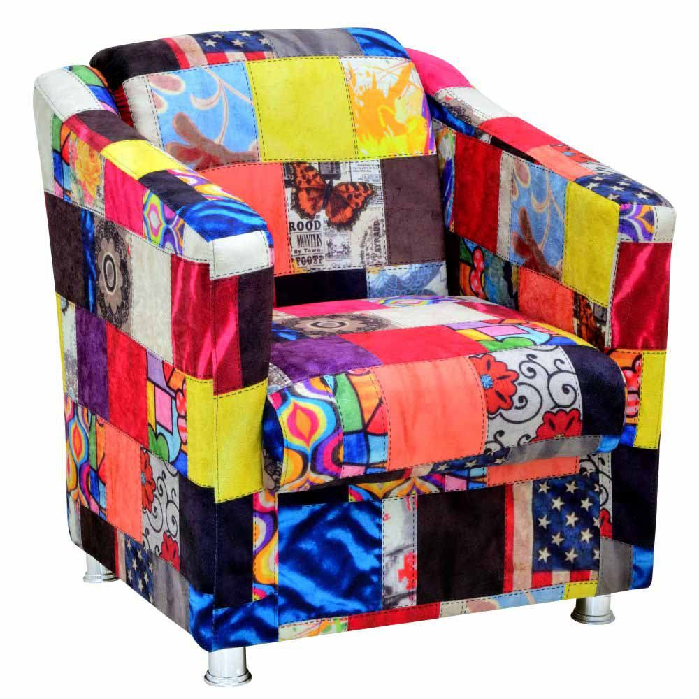 Poltrona Decorativa Laura L02 Patchwork - Lyam Decor