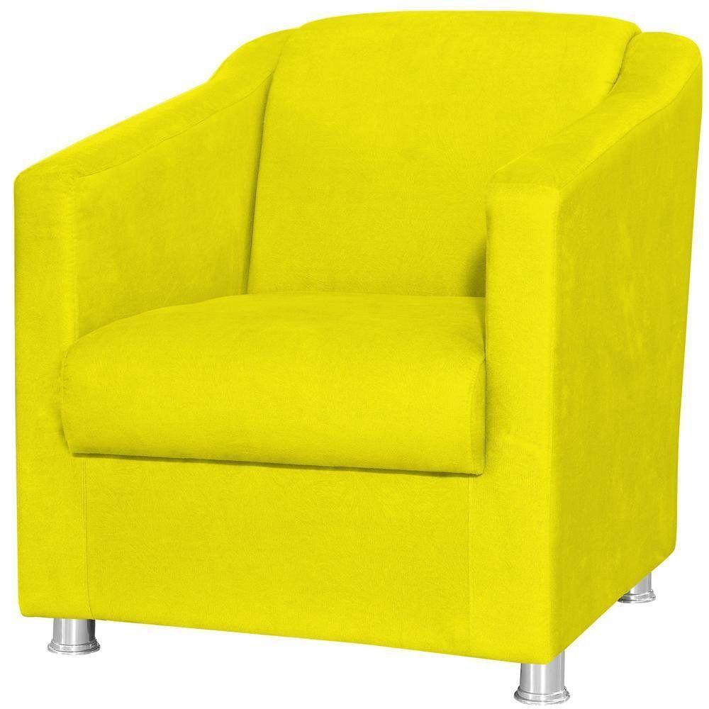 Poltrona Decorativa Laura L02 Suede Amarelo - Lyam Decor