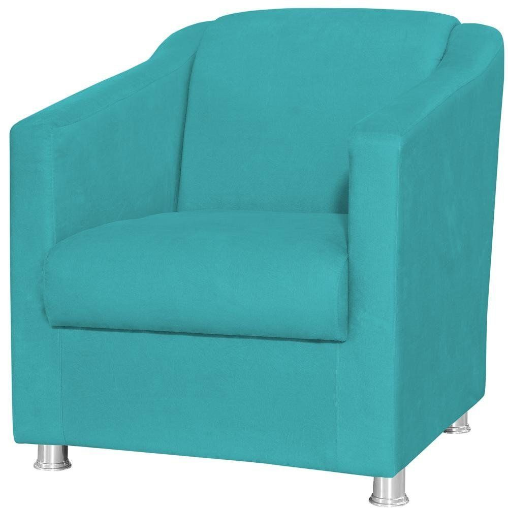 Poltrona Decorativa Laura L02 Suede Azul Claro - Lyam Decor