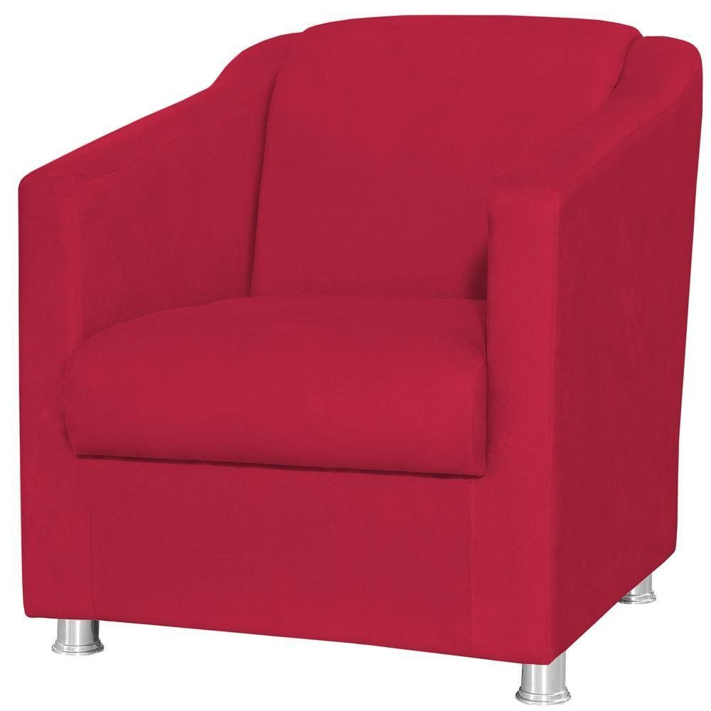 Poltrona Decorativa Laura L02 Suede Vermelho - Lyam Decor