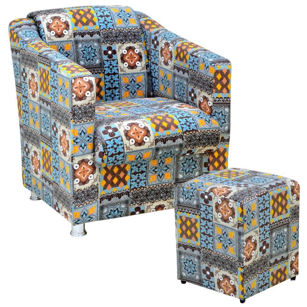 Poltrona Decorativa Para Sala com Puff Laura L02 Azul Cinza - Lyam Decor