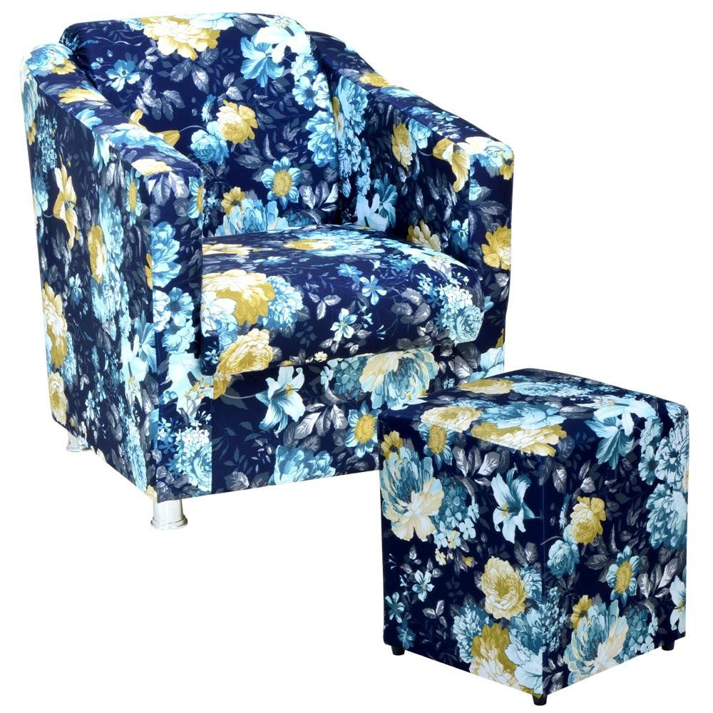 Poltrona Decorativa Para Sala com Puff Laura L02 Azul Estampado - Lyam Decor