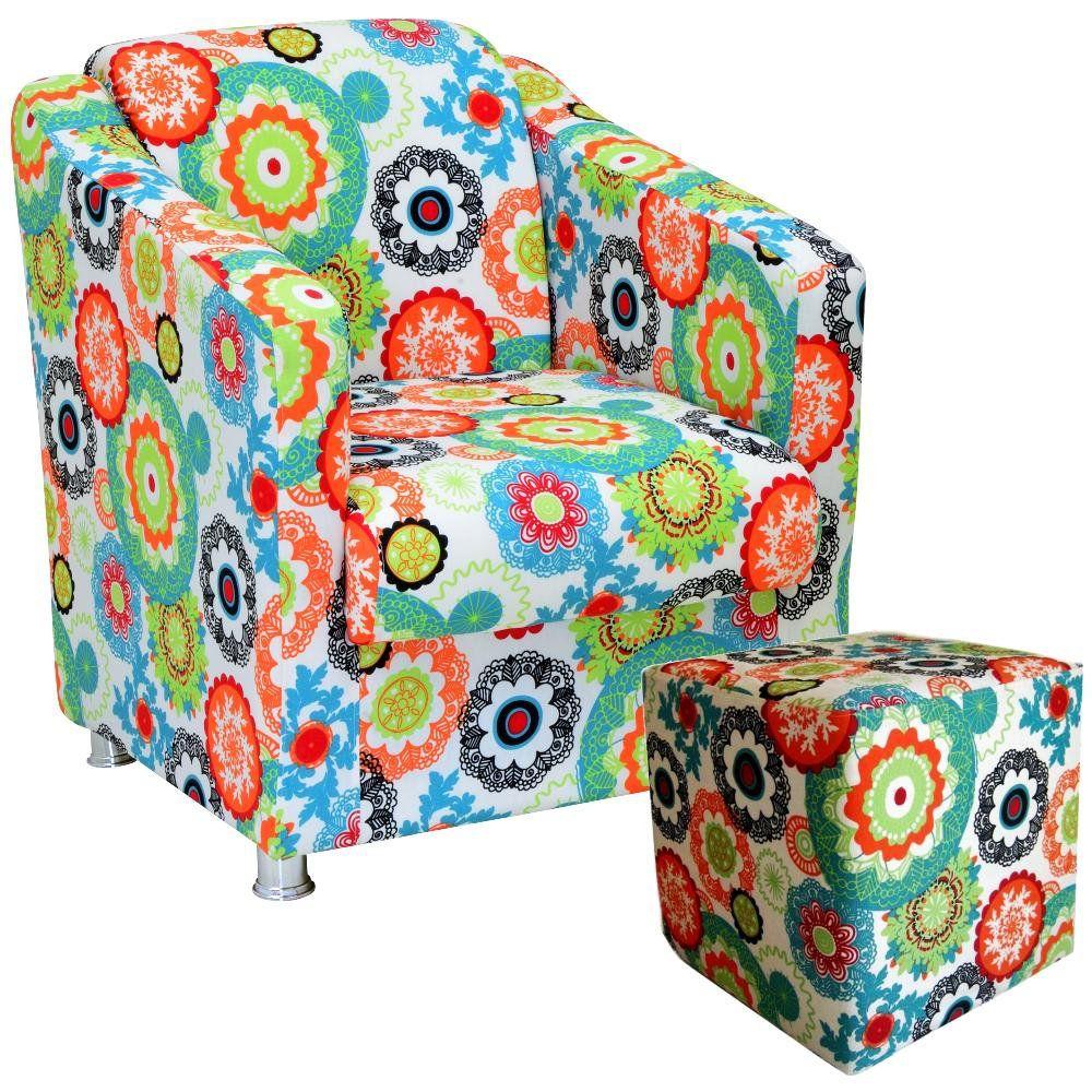 Poltrona Decorativa Para Sala com Puff Laura L02 Floral Laranja - Lyam Decor
