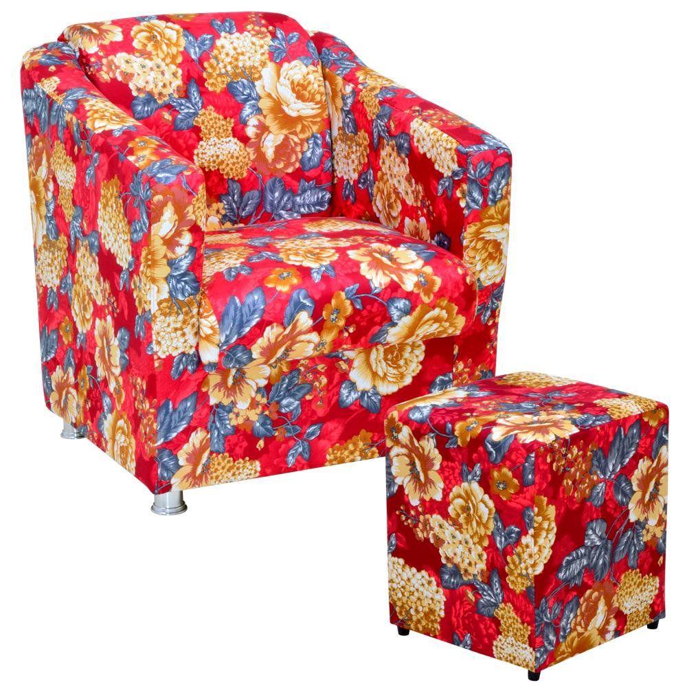 Poltrona Decorativa Para Sala com Puff Laura L02 Vermelho Estampado - Lyam Decor
