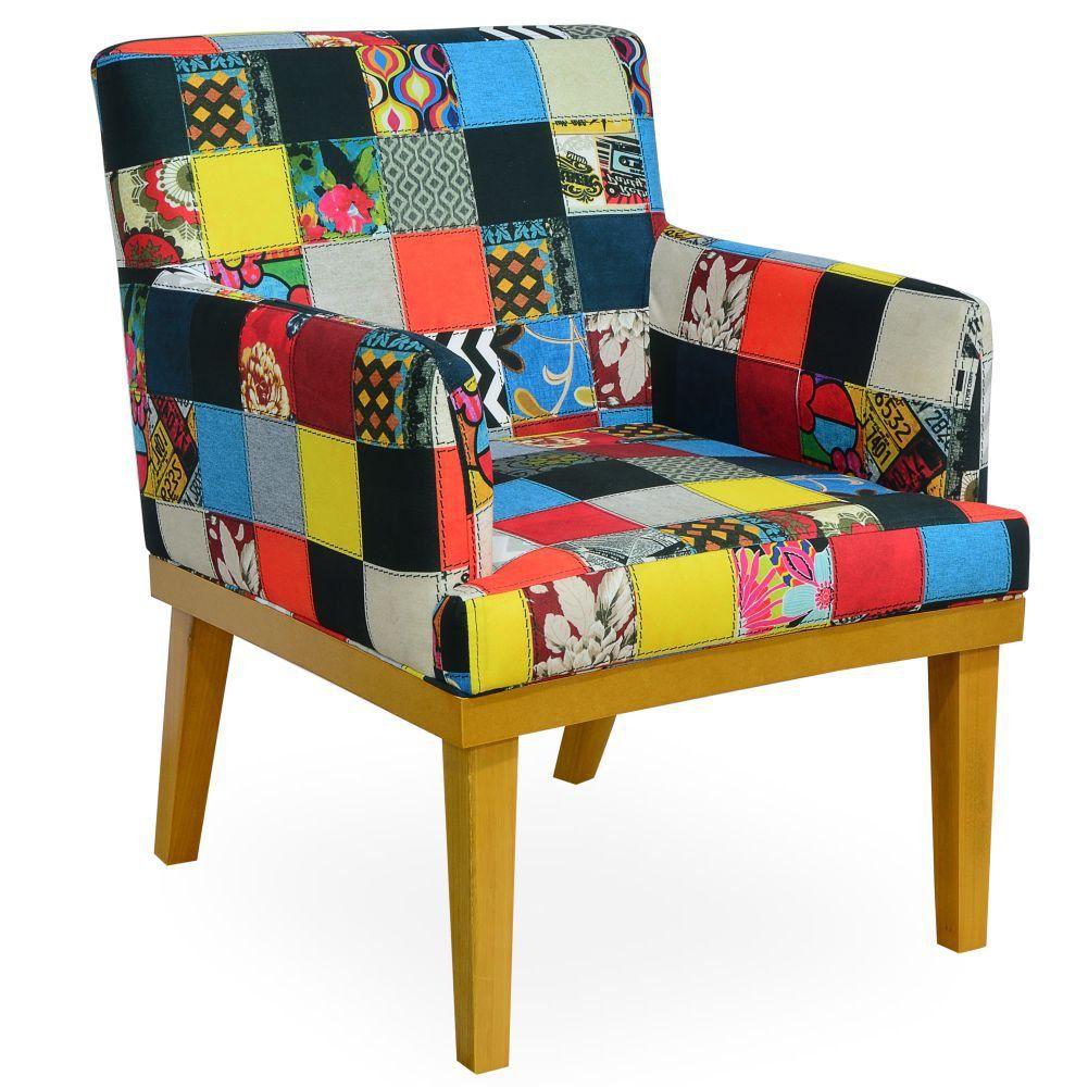 Poltrona Decorativa Para Sala de Estar Beatriz W01 Patchwork - Lyam Decor