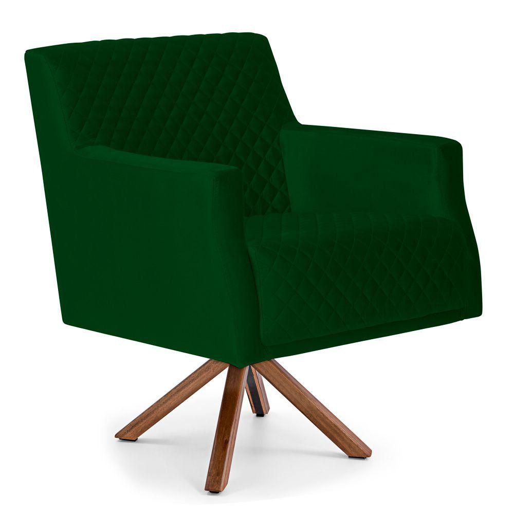 Poltrona Decorativa Para Sala de Estar Diva D02 Tressê Veludo Verde Liso B-303 - Lyam Decor