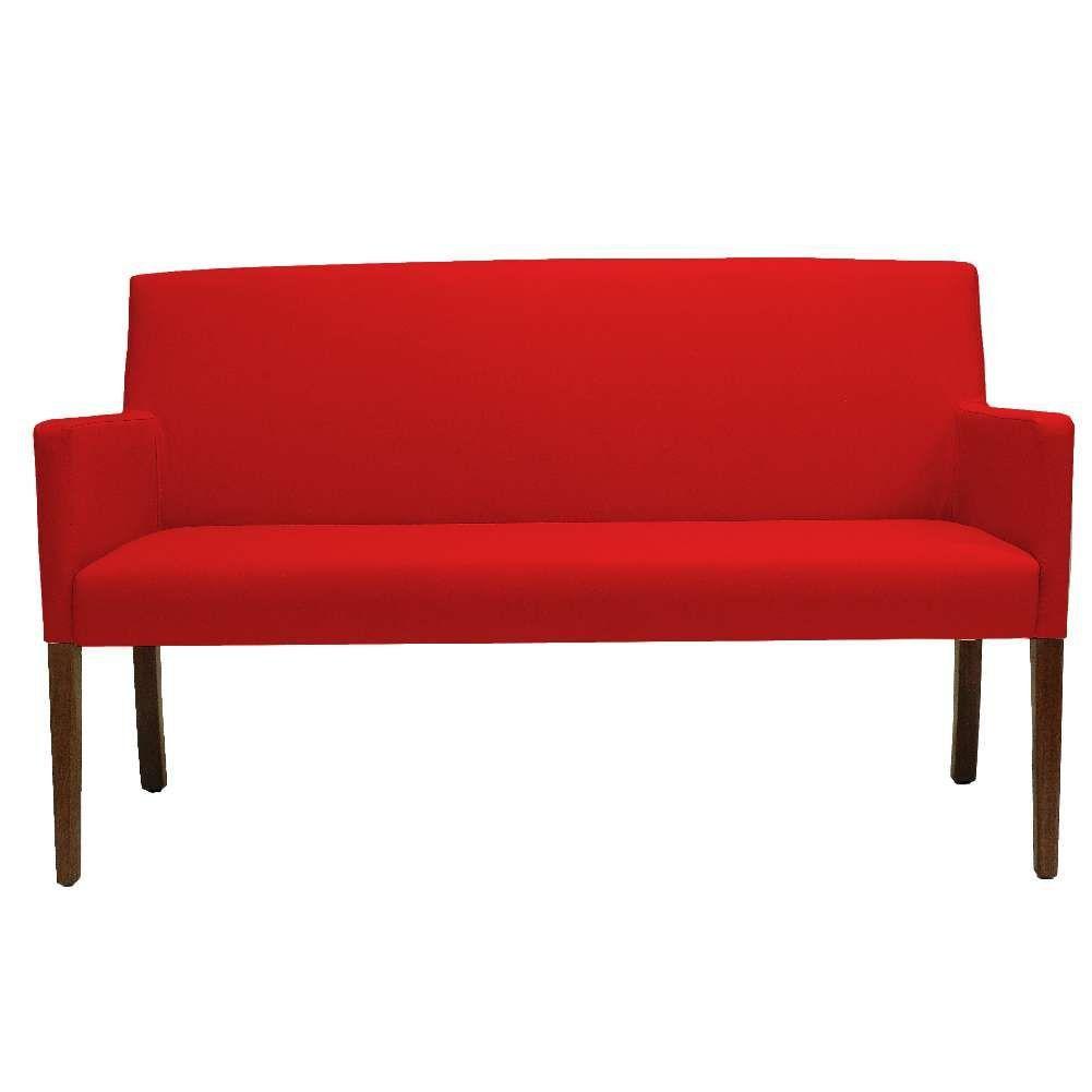 Poltrona Decorativa Para Sala de Estar e Recepção 02 Lugares Joy D02 Essencial Suede Vermelho B-173 - Lyam Decor