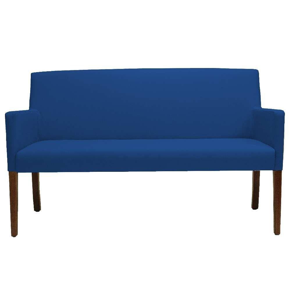 Poltrona Decorativa Para Sala de Estar e Recepção 02 Lugares Joy D02 Essencial Veludo Azul B-170 - Lyam Decor