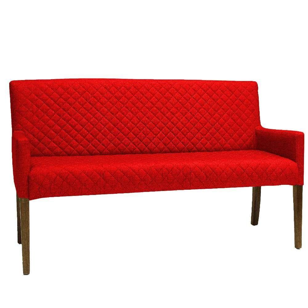 Poltrona Decorativa Para Sala de Estar e Recepção 02 Lugares Joy D02 Tressê Suede Vermelho B-173 - Lyam Decor