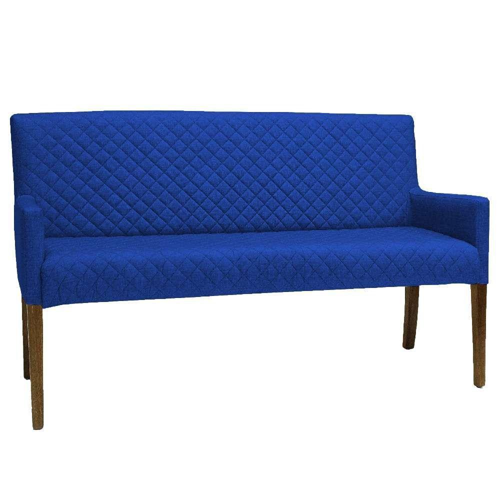 Poltrona Decorativa Para Sala de Estar e Recepção 02 Lugares Joy D02 Tressê Veludo Azul Cobalto B-170 - Lyam Decor