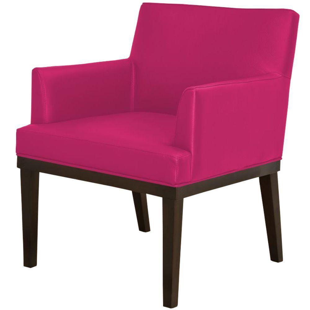 Poltrona Decorativa Para Sala de Estar e Recepção Beatriz W01 Corino Pink - Lyam Decor