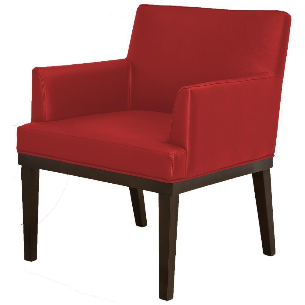 Poltrona Decorativa Para Sala de Estar e Recepção Beatriz W01 Corino Vermelho - Lyam Decor