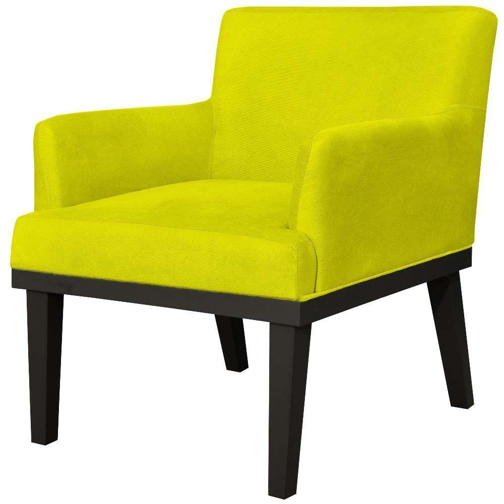 Poltrona Decorativa Para Sala de Estar e Recepção Beatriz W01 Suede Amarelo - Lyam Decor