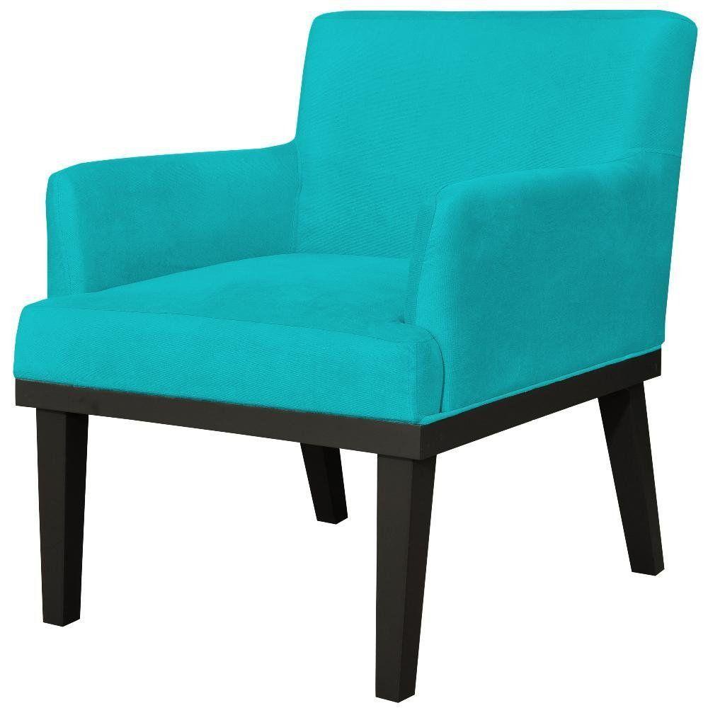 Poltrona Decorativa Para Sala de Estar e Recepção Beatriz W01 Suede Azul Claro - Lyam Decor