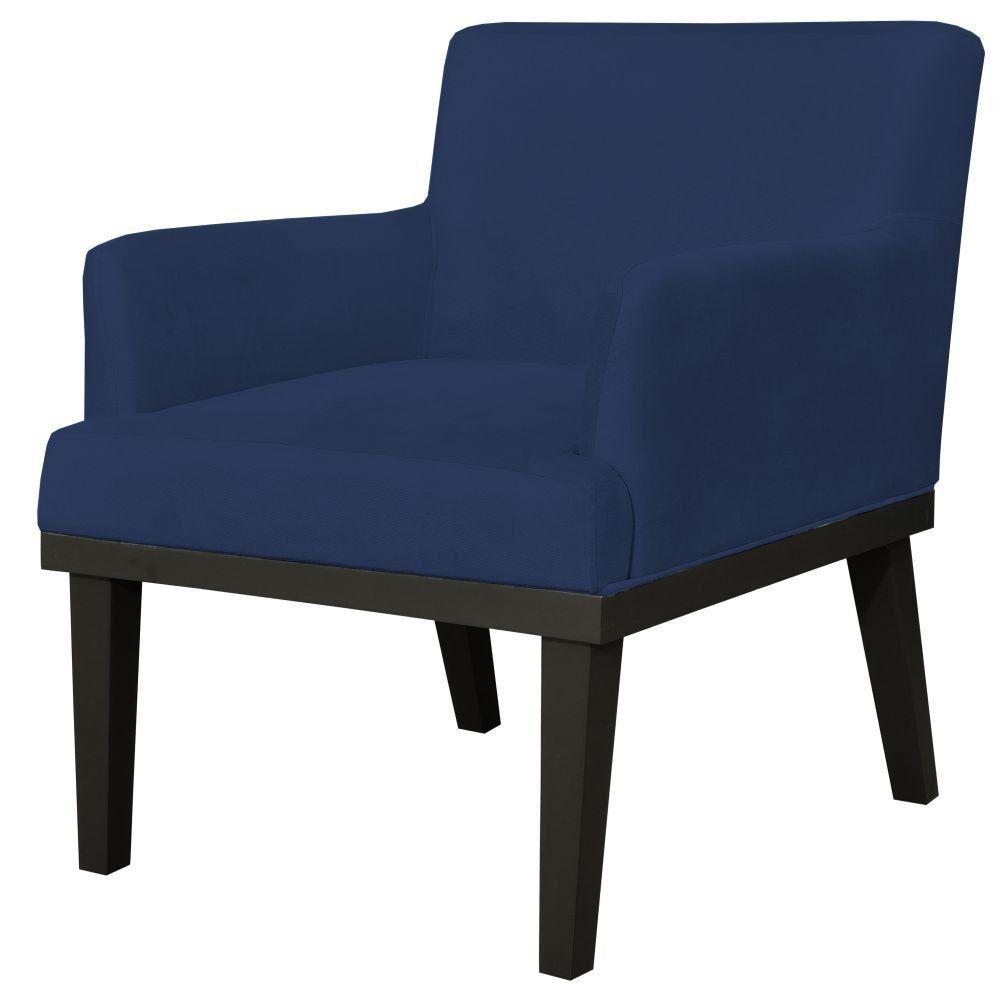 Poltrona Decorativa Para Sala de Estar e Recepção Beatriz W01 Suede Azul Marinho - Lyam Decor