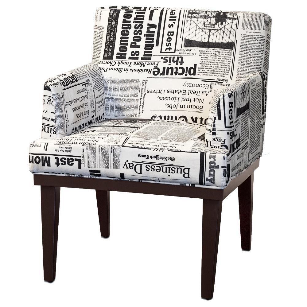 Poltrona Decorativa Para Sala de Estar e Recepção Beatriz W01 Suede Jornal - Lyam Decor