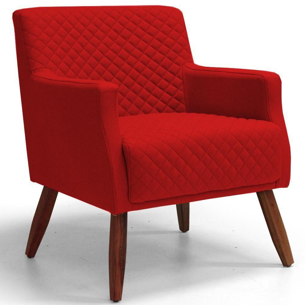 Poltrona Decorativa Para Sala de Estar e Recepção Diva D02 Tressê Suede Vermelho B-173 - Lyam Decor