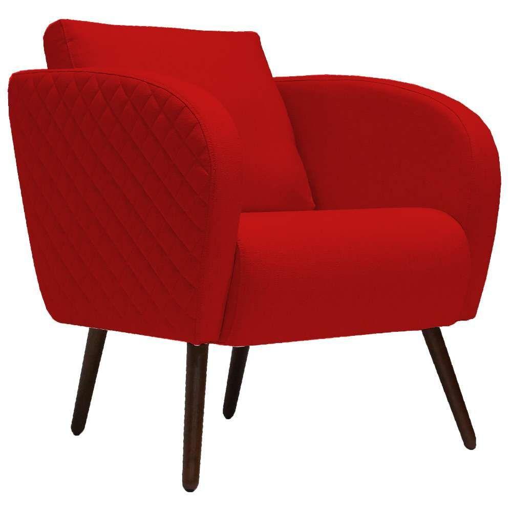Poltrona Decorativa Para Sala de Estar e Recepção Dana D02 Suede Vermelho B-173 - Lyam Decor