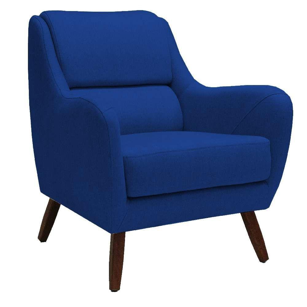 Poltrona Decorativa Para Sala de Estar e Recepção Gooby D02 Veludo Azul Cobalto B-170  - Lyam Decor