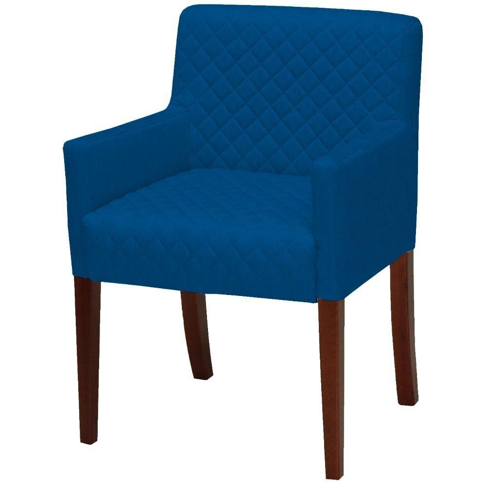Poltrona Decorativa Para Sala de Estar e Recepção Joy D02 Tressê Veludo Azul Cobalto B-170 - Lyam Decor