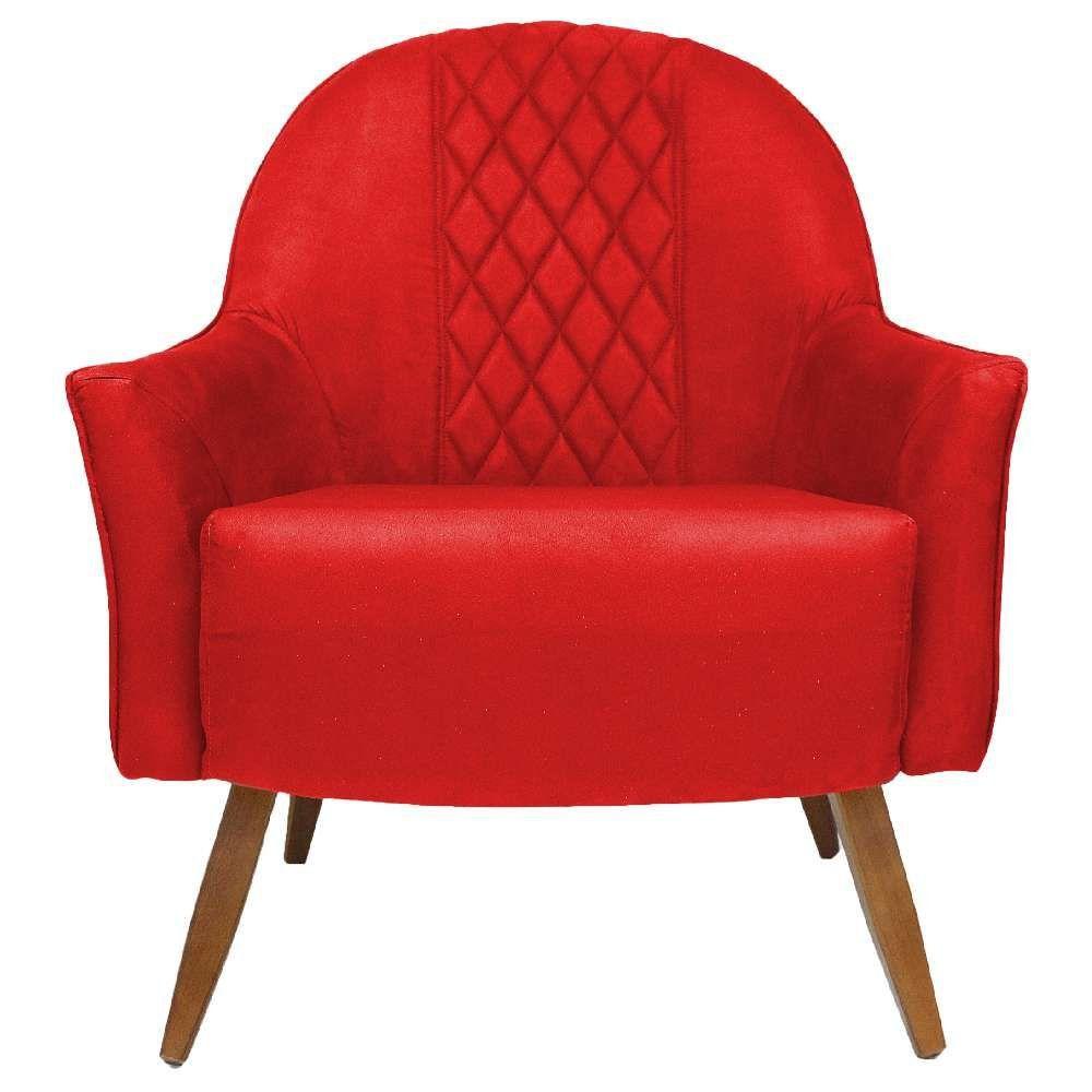 Poltrona Decorativa Para Sala de Estar e Recepção Martina D02 Tressê Suede Vermelho B-173 - Lyam Decor