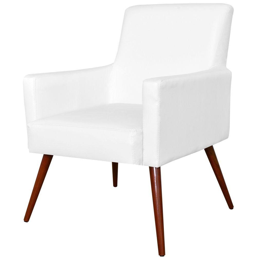 Poltrona Decorativa Para Sala de Estar e Recepção Maria W01 Pés Palito Corino Branco - Lyam Decor