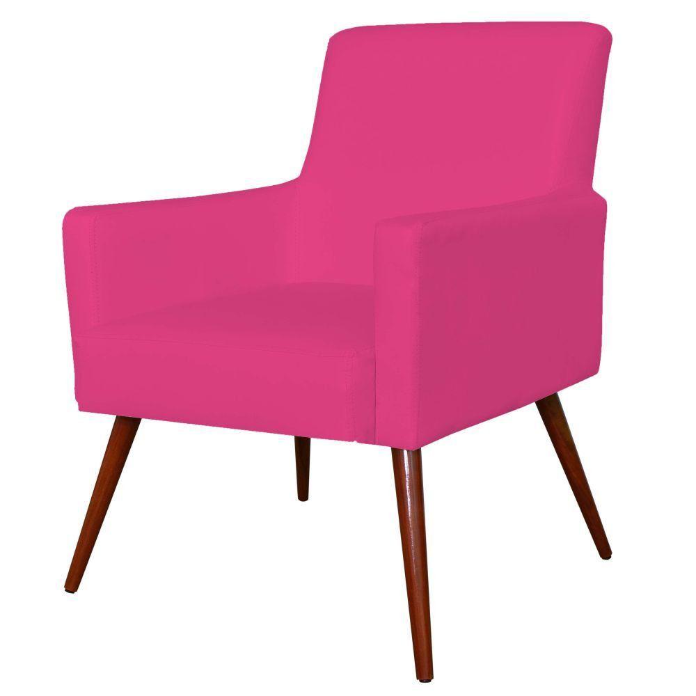 Poltrona Decorativa Para Sala de Estar e Recepção Maria W01 Pés Palito Corino Pink - Lyam Decor