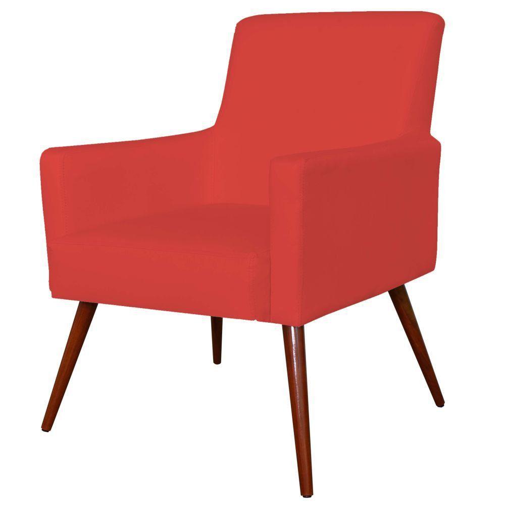 Poltrona Decorativa Para Sala de Estar e Recepção Maria W01 Pés Palito Corino Vermelho - Lyam Decor
