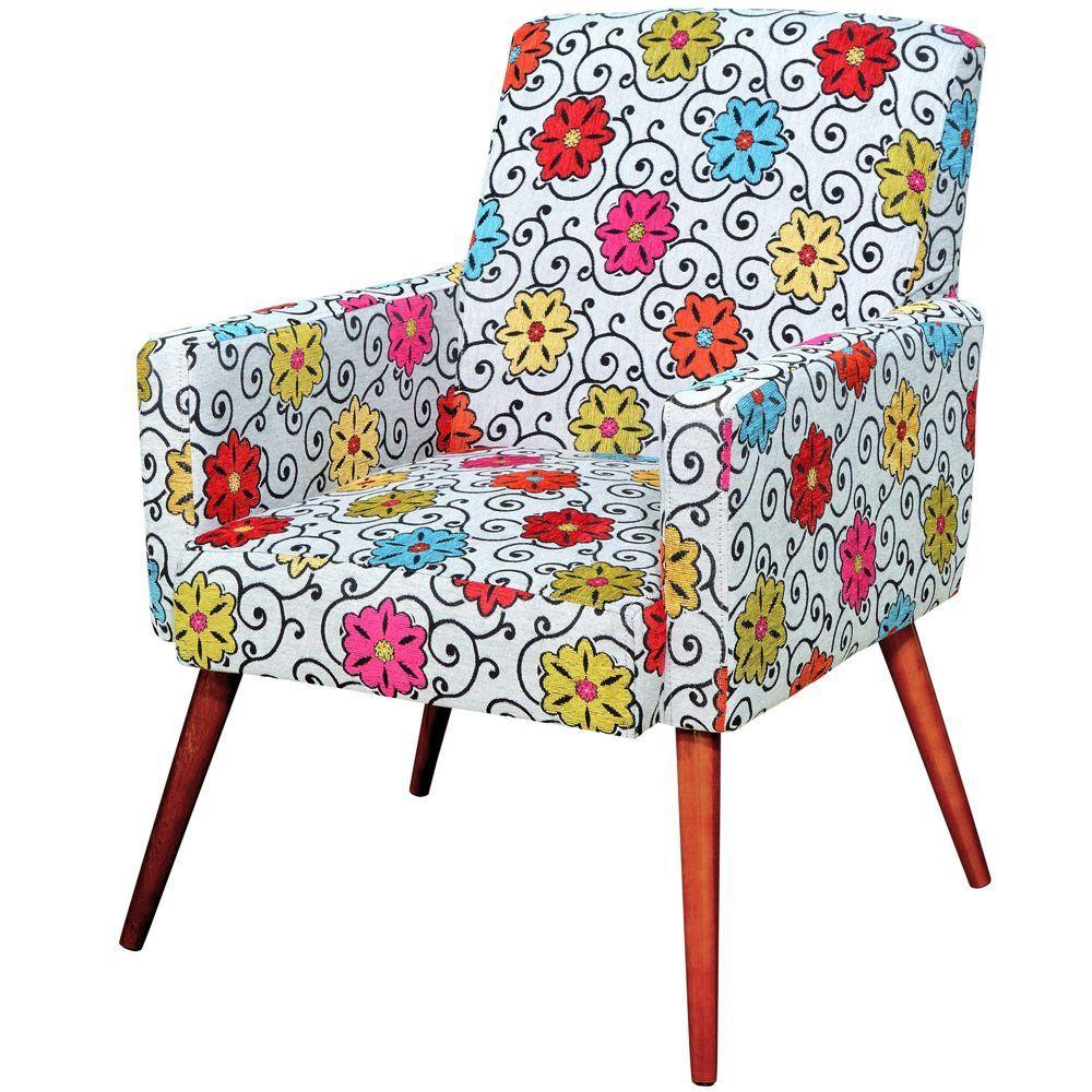 Poltrona Decorativa Para Sala de Estar e Recepção Maria W01 Pés Palito Linho Floral - Lyam Decor