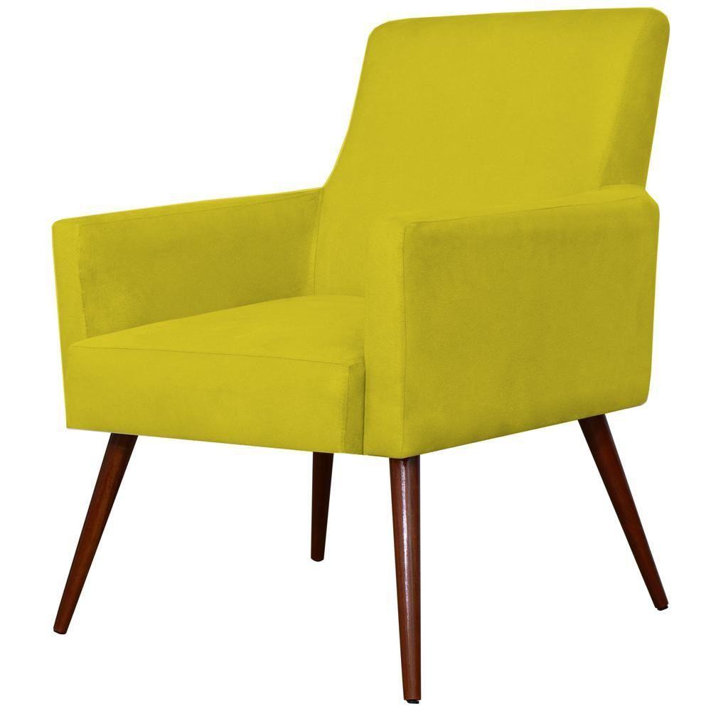 Poltrona Decorativa Para Sala de Estar e Recepção Maria W01 Pés Palito Suede Amarelo - Lyam Decor