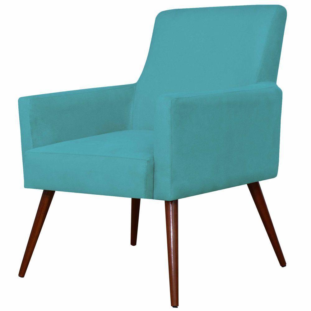 Poltrona Decorativa Para Sala de Estar e Recepção Maria W01 Pés Palito Suede Azul - Lyam Decor