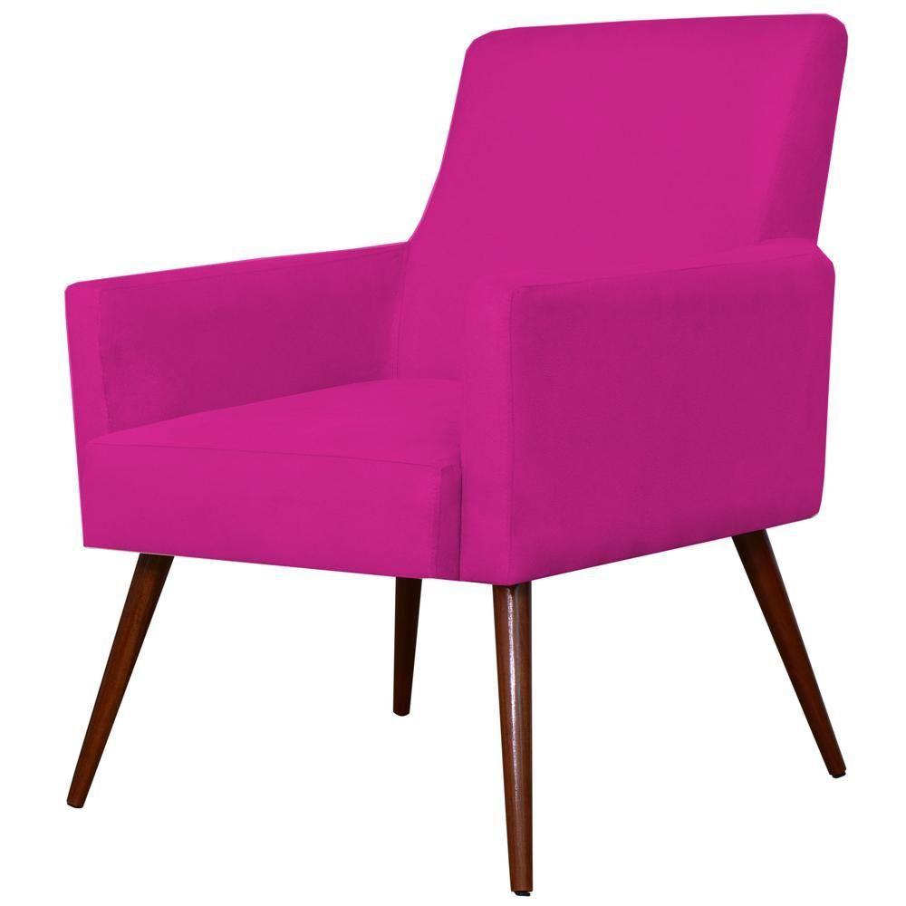 Poltrona Decorativa Para Sala de Estar e Recepção Maria W01 Pés Palito Suede Pink - Lyam Decor