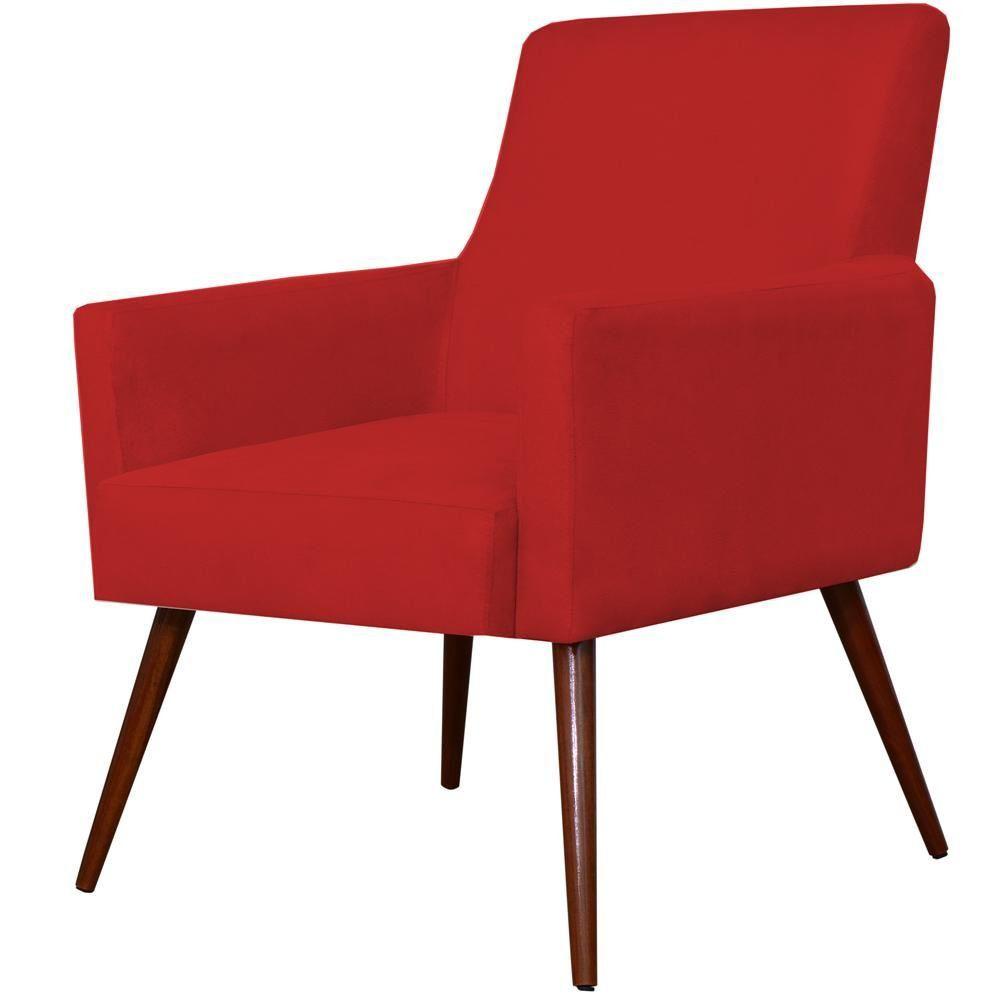 Poltrona Decorativa Para Sala de Estar e Recepção Maria W01 Pés Palito Suede Vermelho - Lyam Decor