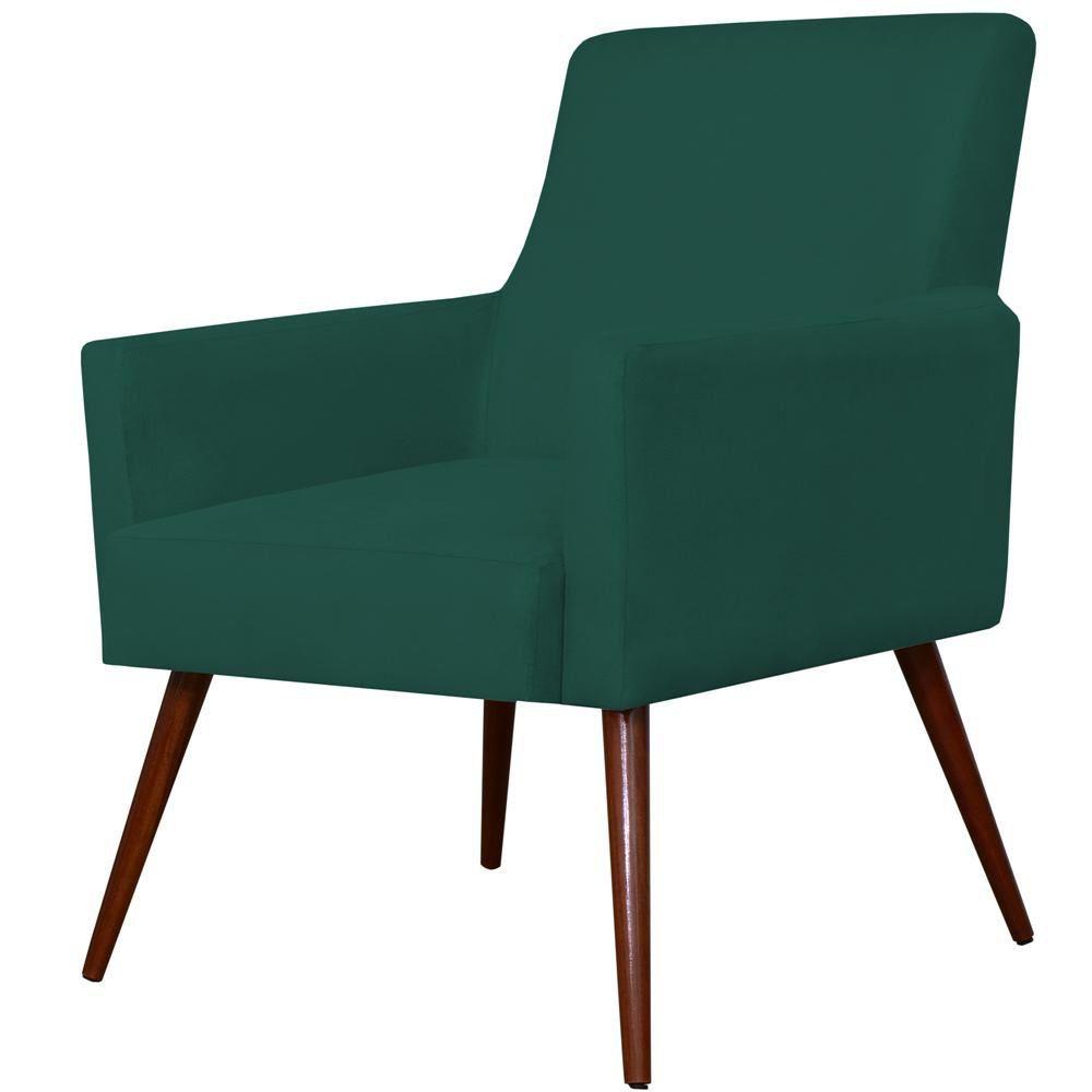 Poltrona Decorativa Para Sala de Estar e Recepção Maria W01 Pés Palito Suede Verde Musgo - Lyam Decor