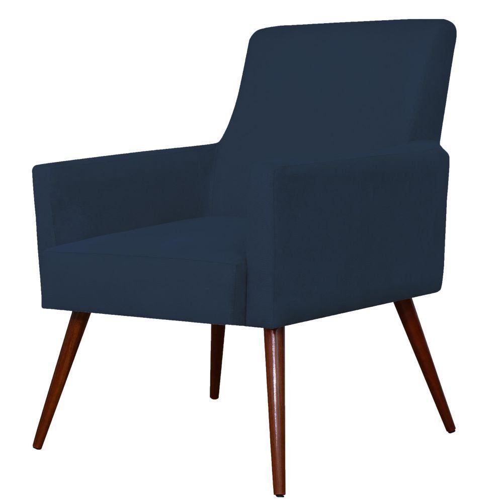 Poltrona Decorativa Para Sala de Estar e Recepção Maria W01 Suede Azul Marinho - Lyam Decor