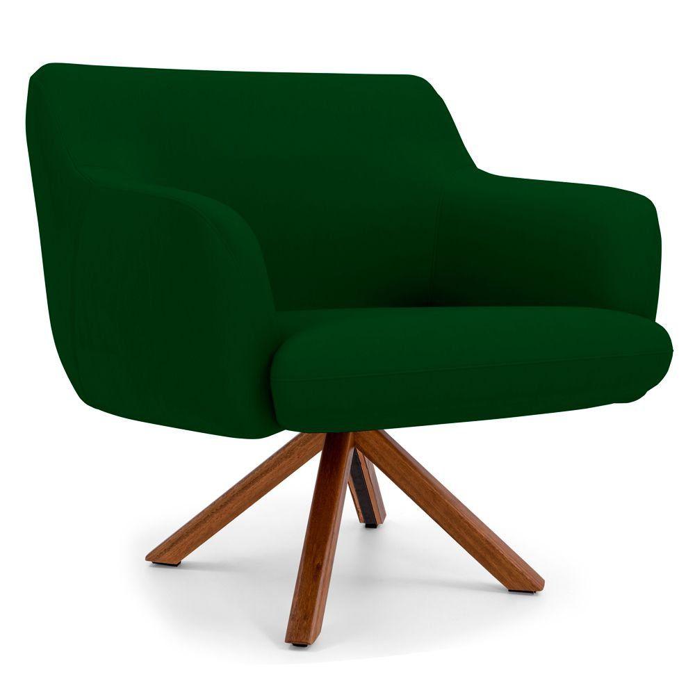 Poltrona Decorativa Para Sala de Estar Jade D02 Veludo Verde Liso B-303 - Lyam Decor