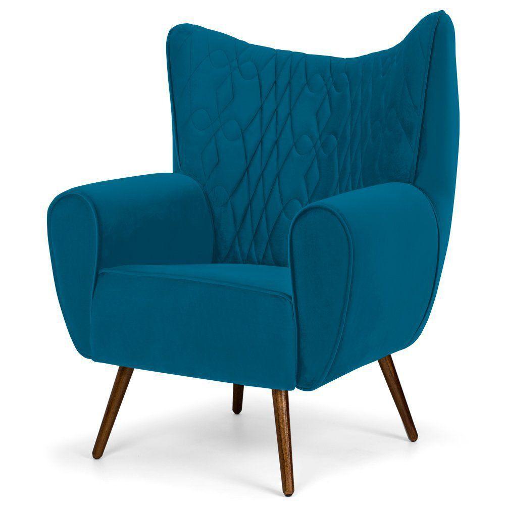 Poltrona Decorativa Para Sala de Estar Kora D02 Pés Palito Tressê Veludo Liso Azul Cobalto B-170 - Lyam Decor