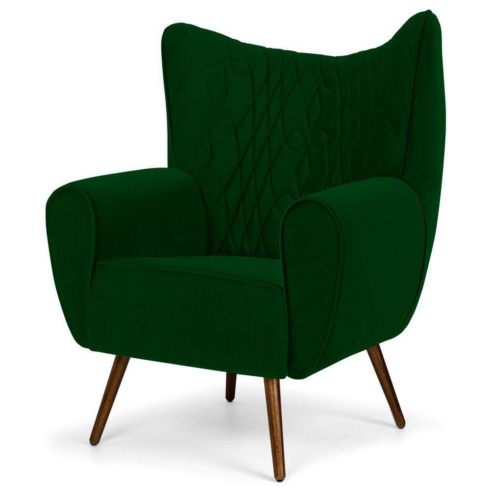 Poltrona Decorativa Para Sala de Estar Kora D02 Pés Palito Tressê Veludo Liso Verde B-303 - Lyam Decor