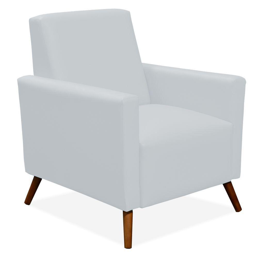 Poltrona Decorativa Para Sala de Estar Pés Palito Liz P02 Corino Branco - Lyam Decor