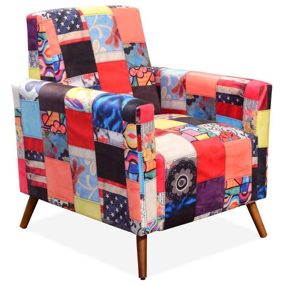 Poltrona Decorativa Para Sala de Estar Pés Palito Liz P02 Patchwork - Lyam Decor