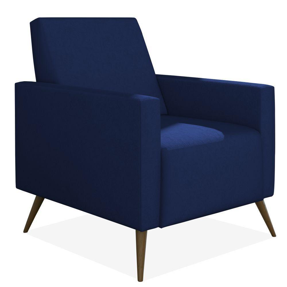 Poltrona Decorativa Para Sala de Estar Pés Palito Liz P02 Suede Azul Marinho - Lyam Decor